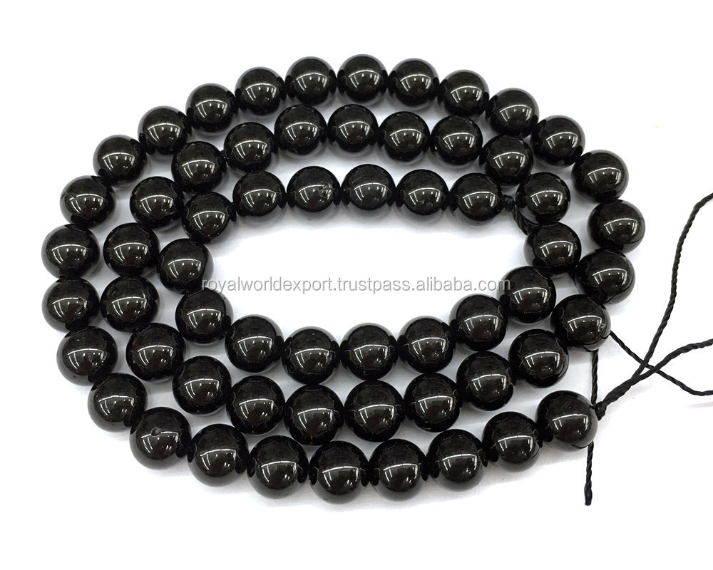 Wholesale natural black tourmaline beads 10mm natural tourmaline beads semi precious round gemstone beads