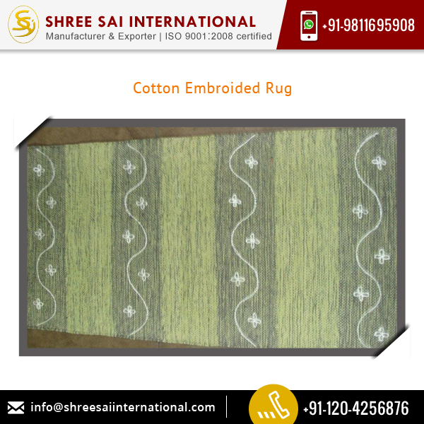 100% Cotton Made Embroidered Rug for Sale