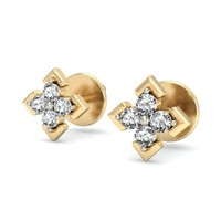 Beautiful Daily wear Real Diamond Earrings in 14K Yellow Gold