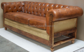 Vintage Leather Sofa Wooden Leg,