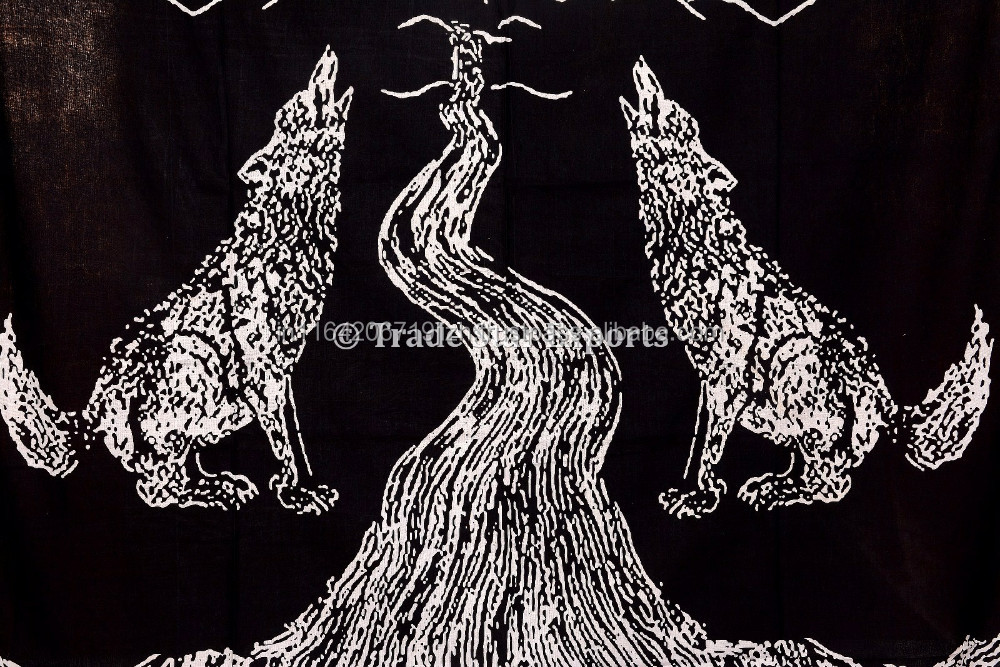 Wolf Half Moon Gedruckt Schwarz Weiße Wandteppiche Baumwolle