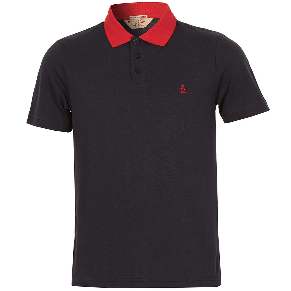Black t shirt red collar - Mens Penguin Daddy Collar Short Sleeve Polo T Shirt In Black White Navy