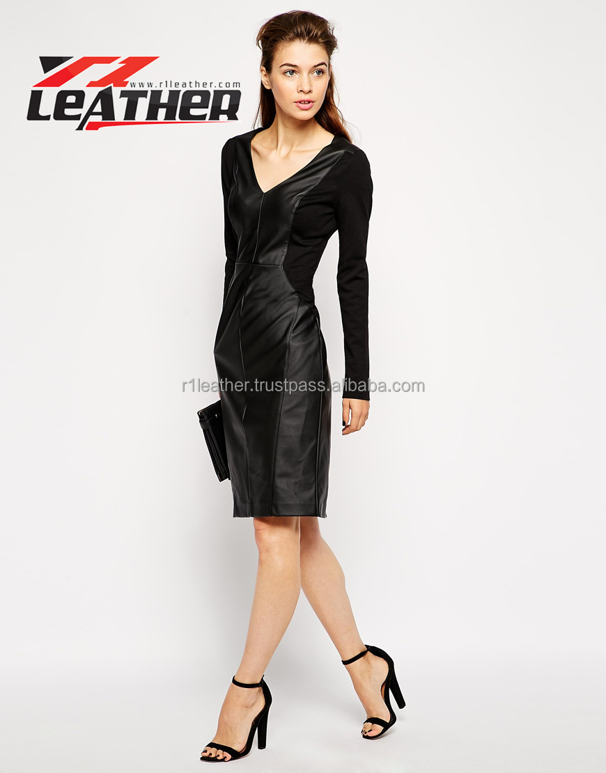 Open Girl Photo Long Sleeve Black Sexy Cheap Leather Dresses - Buy ...