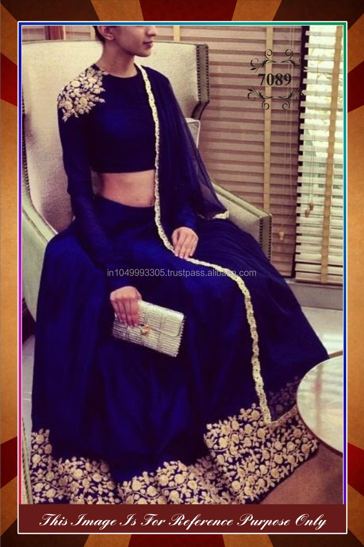 100 Whole Sale Ethnic Latest Blue Color Designer Lehenga Saree