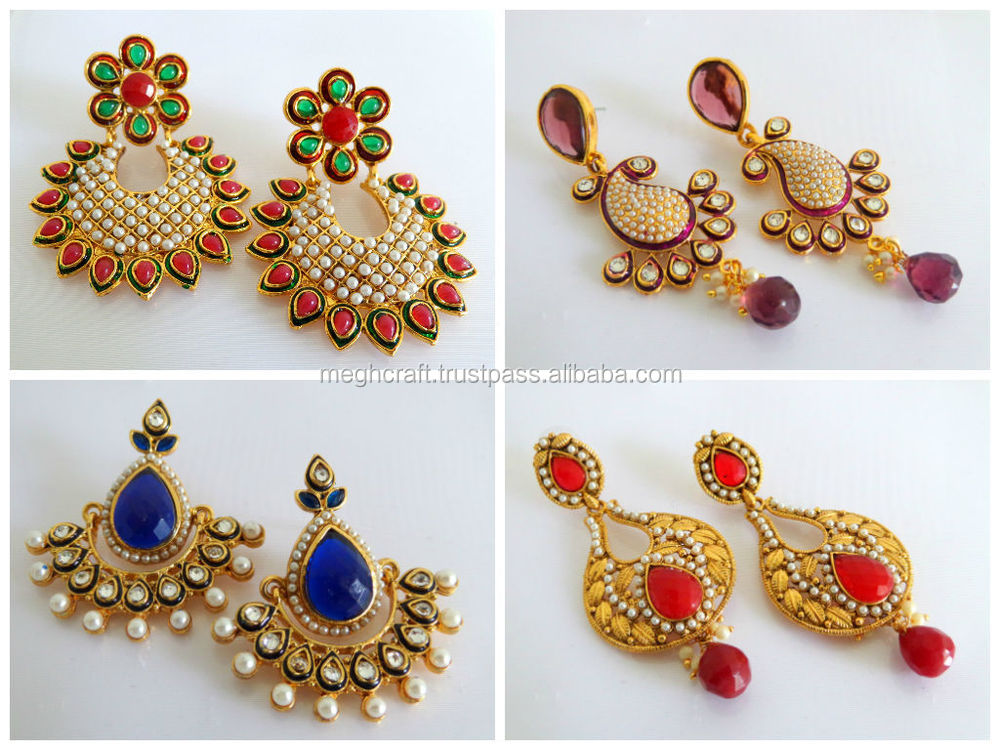 Indian Traditional Ethnic Pearl Jumka Earrings One Gram Gold Jewellery Pea Kundan Earring Antique Designs