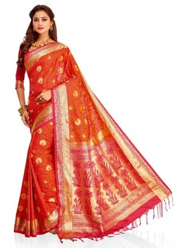 185e53727445a9 Meghdoot Traditional Art Silk Saree Sari Orange and Pink Colour Wholesale