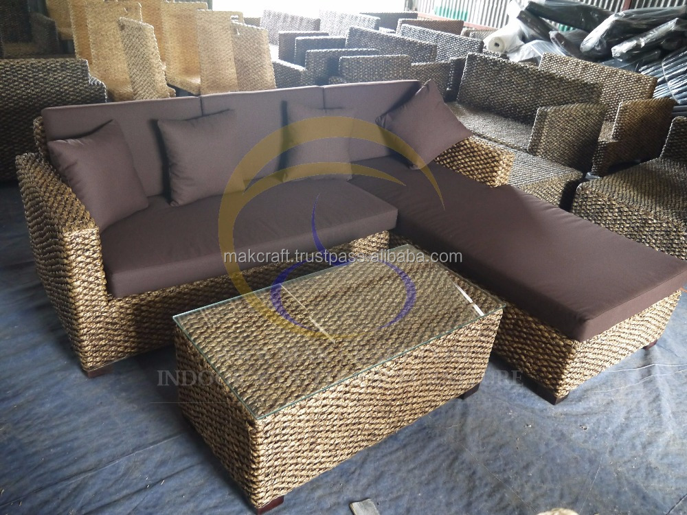 Water hyacinth furniture living room sofa set- Leisure Indoor rattan Living room wooden living room sofa set home furniture