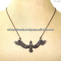 925 Sterling Silver Chain Eagle Necklace, Ruby Pave Diamond Connector Bird Fly New Design Necklace