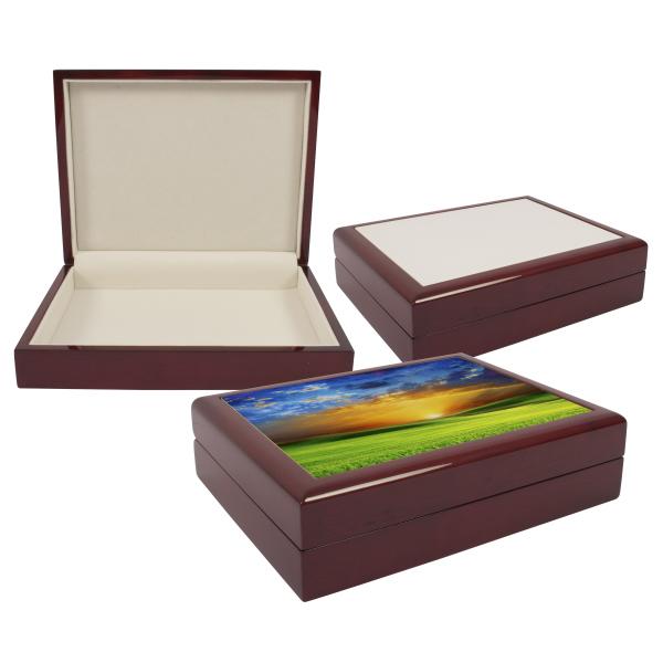 sublimation blank tile lid unfinished wooden jewellery boxkeepsake box