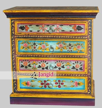 Indian French Style Painting Nightstands Mango Wood Bedroom Furniture