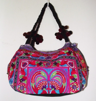 Hmong Hill Tribe Hand Bag Tote Embroidered Thailand