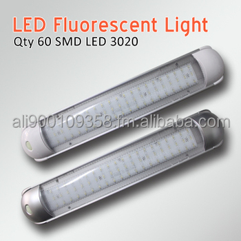 RV Oblong 60 LED Fluorescent Dome Light Fixture With On/Off Switch Surface  Mount Motorhome