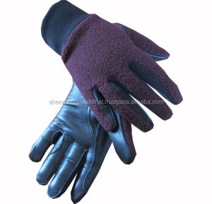Childrens Winter Leather Horse Riding Gloves Fleece Backed
