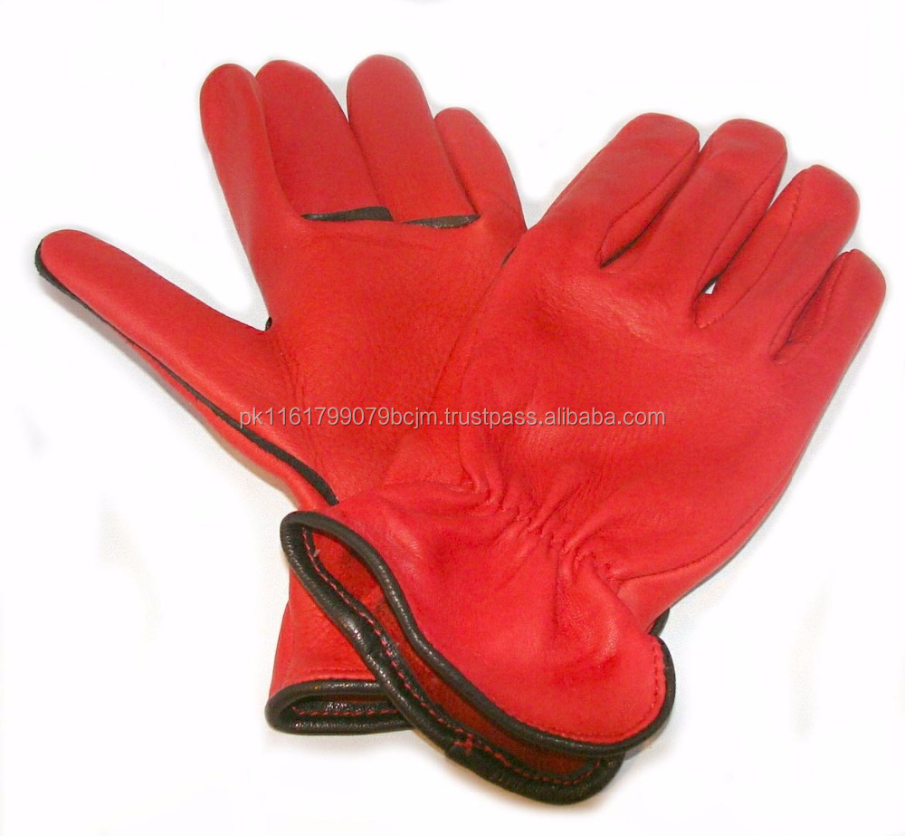 Leather work gloves drawstring -  Natural Leather Working Gloves Stan Natural Leather Working