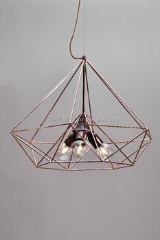 Himmeli Light Cage Diamond 3 Lamps Copper Metal Handmade Art Geometric Minimal Shape Textile Cable Iron