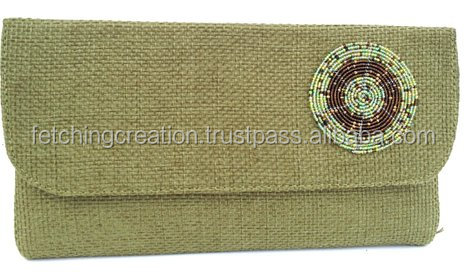 High Quality green Colored with side Designer Embroidered Beaded Handbag /clutch bag