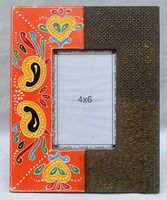 Indian Handicraft Hand Painted Metal Fitted Wooden Photo Frame