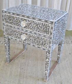 Indian Moroccan Style Camel Bone Inlay Console Table Furniture Mother Of Pearl