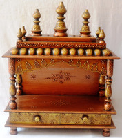 Hand Painted Copper Finish Wooden Temple With 2 Drawers