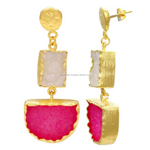 New Design 24k Gold Plated White Pink Agate Druzy Stone Women Girls Drop Earring Jewelry, Wholesale Jewelry 2017 FK-015
