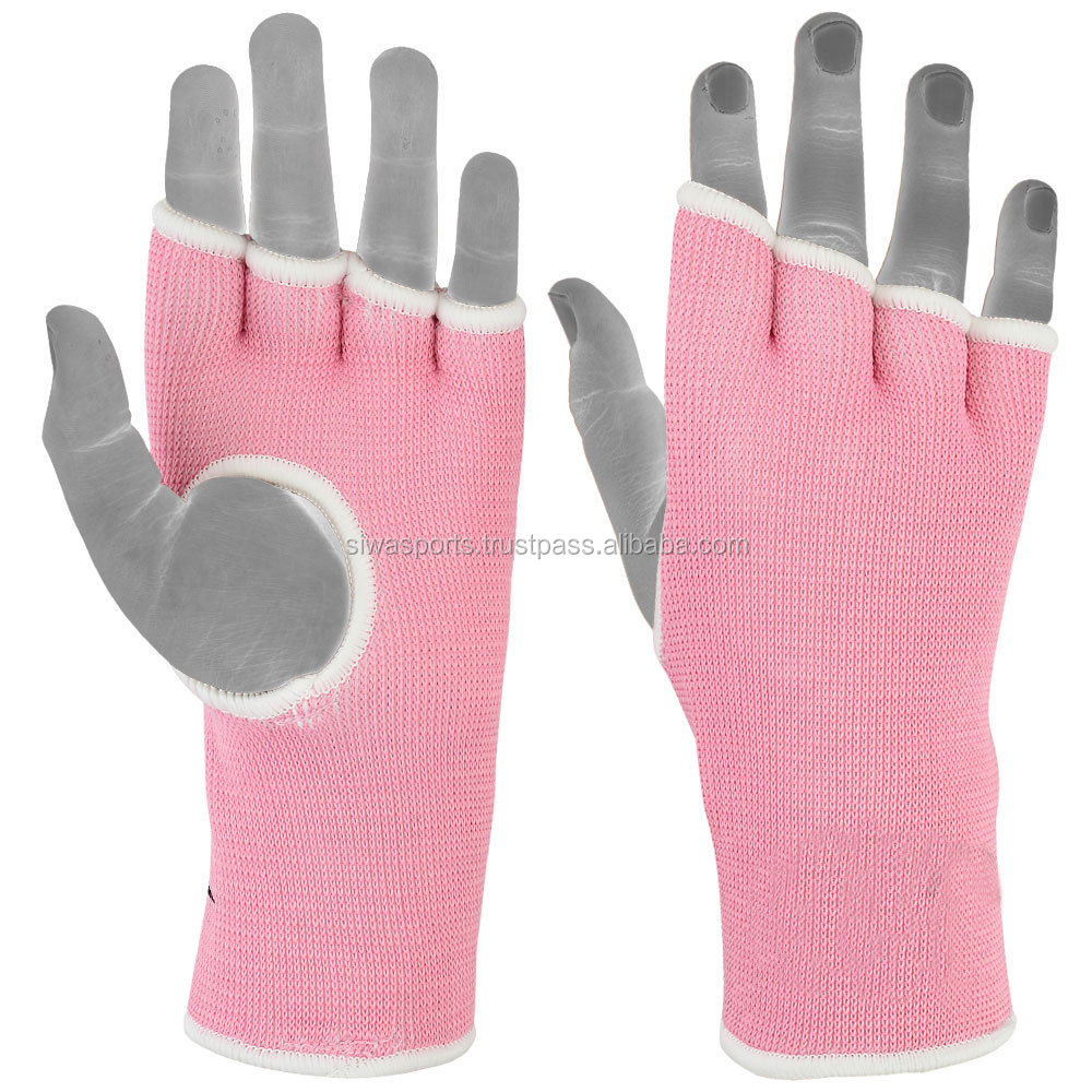 Ladies Pink Boxing Inner Gloves Fist Padded Muay Thai Boxing Hand Wraps