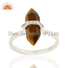 Gold Plated Unique Designer CZ Ring Wholesale 925 Sterling Silver Tiger Eye Gemstone Rings Manufacturer of Gift Jewelry