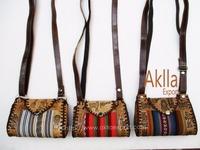Handmade Embossed Leather Handbag with Aguayo Blanket
