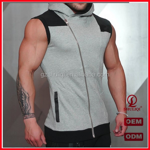 Fashion design men sportswear gym sleeveless hoodies profession customized men vest hoodies comfort hoodies tops