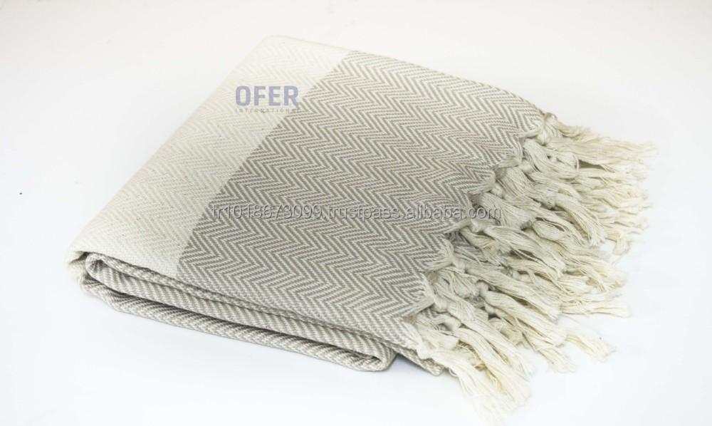 100 Cotton Throw Blanket With Tassel Fringe Peshtemal
