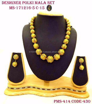 297e469d09 Designer Real Golden Beaded Mala Necklace Wedding Royal Indian imitation  Jewelry in wholesale best price