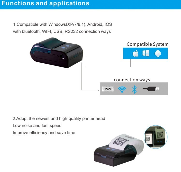 Android Bluetooth 58mm Portable Thermal Printer Support Esc/pos Commands  Zkc5805 - Buy Printer Bluetooth,58mm Thermal Printer,Portable Thermal  Printer