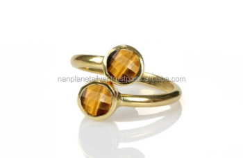 Adjustable Tiger Eye Round Bezel Set Charm RINGS For Women