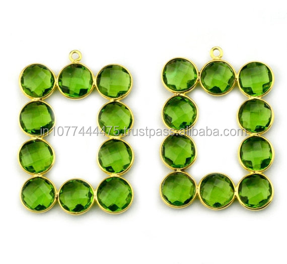 Latest Collection 2015 Silver Bezel Jewelry 925 Sterling Silver Jewelry Peridot Quartz Gemstone Connector