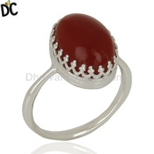 Crown Design 925 Sterling Fine Silver Ring Carnelian Gemstone Girls Ring Handmade Indian Jewelry Supplier