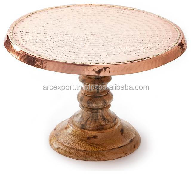 copper hammered top wood base cake stand