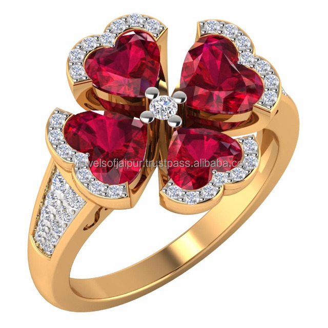 New Fashion Lovely Gold Daisy Heart Flower Ring 18k rose gold Hallmarked Diamond Ruby Heart Shape For Girls