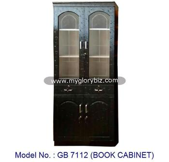2 Doors Black Wooden Book Cabinet With Glass Door And Drawers In Elegant  Design Bookcase