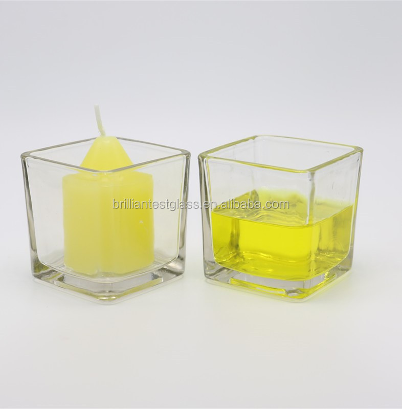 Square Cube printing glass candle holder/Glass vase/sqaure votive candle jar
