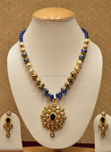 Blue kundan necklace set with pearls for women