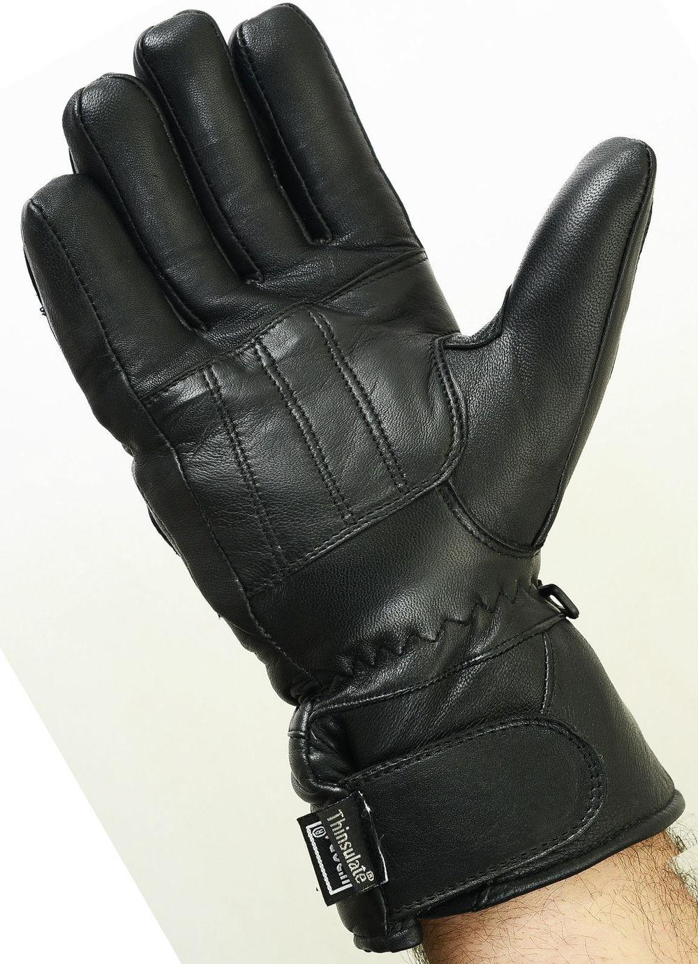 Padded Leather Motorbike Gloves Thermal Waterproof