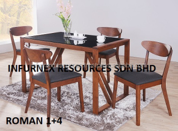 Roman Dining Set, Glass Table, Cafe Chair, Dining Set, Dining Room Furniture