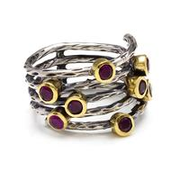 Wholesale Turkish Authentic Garnet Stone Rhodium Plated Silver Ring, Product in Turkey