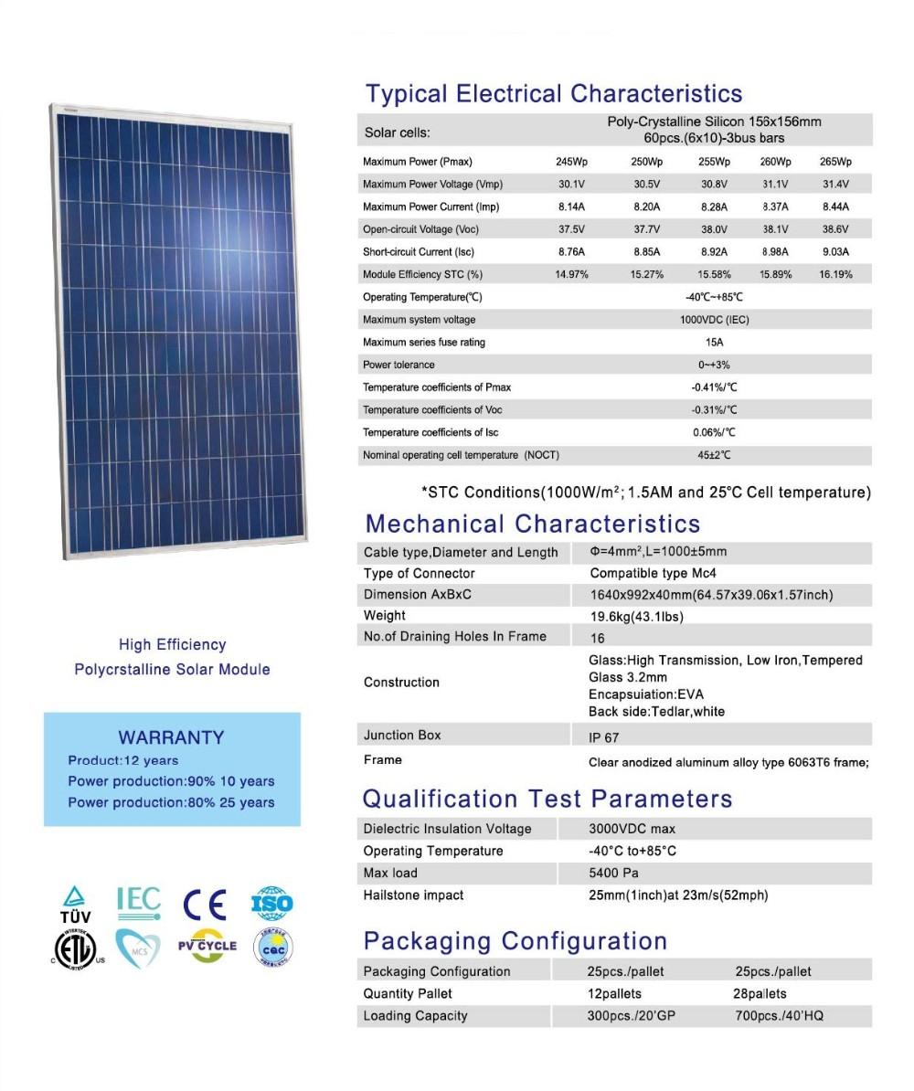 Puissance Panneau Photovoltaique avec 60 cellules poly 265 w 60 v solaire modules pv panneau solaire 265 w