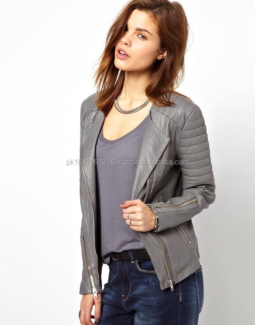 Grey Leather Jacket Women - Jacket