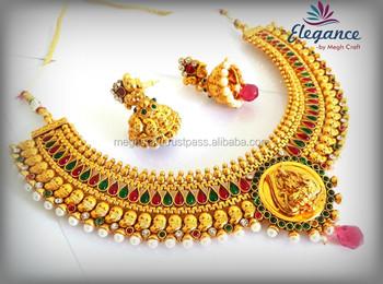 Indian Bridal Jewellery Set One Gram Gold Plated Temple Jewellery