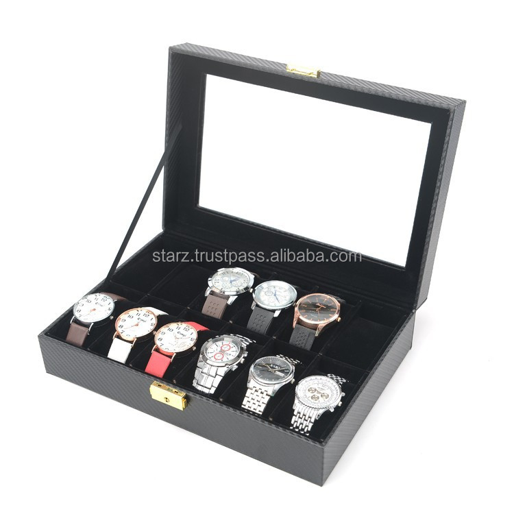 Customized Full Black Carbon Fiber 12 Slot Watch Case Display Box