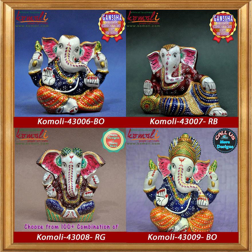 Vibrant Colourful Meenakari Ganesha Idols