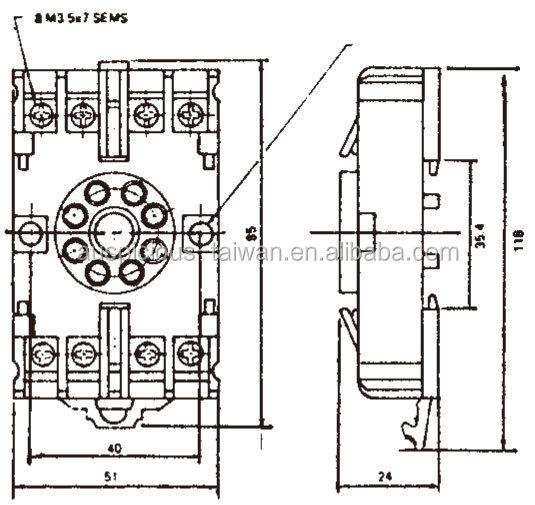8 pins timer relay socket 8pfa  p2cf08