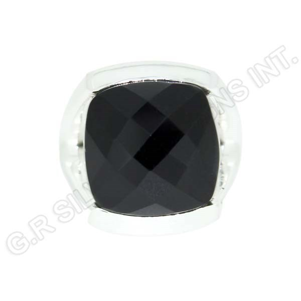 925 wholesale silver black onyx cushion gemstone stylish band rings jewelry