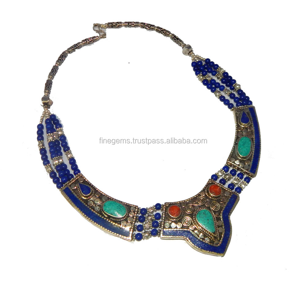 designed necklace products nepali l stone traditionally
